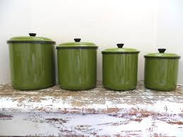 Green Kitchen Canister Set Vintage Green Enamel Canister Set Metal Canister Kitchen