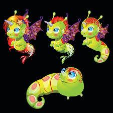 Characters Unusual Green <b>Fish Unicorns</b> With Wings Stock Illustration