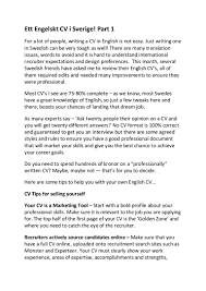 ett engelskt cv i sverige helpful advice on writing an english cv