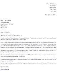 sales representative job application cover letter example   icover    name surname  sales representative cover letter