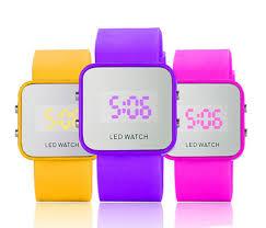 China <b>Fashion</b> Square Silicone Jelly Color <b>Mirror</b> Watch <b>LED Digital</b> ...