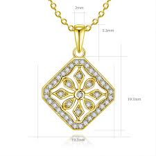 <b>AINUOSHI 10K Solid Yellow</b> Gold Pendant Square Pattern Pendant ...
