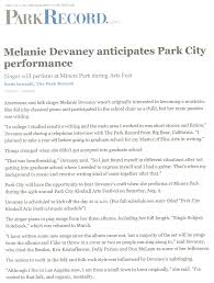 melanie devaney press melanie was recently featured in an edition of the park city record