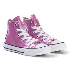 <b>Converse</b> - <b>Pink</b> Glitter Rubber Chuck Taylor All Star Junior Hi Tops ...