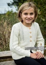 Вязаный спицами нарядный <b>кардиган для девочки</b> от 4 до 12 лет ...