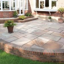 patio slab sets: brett paving riven sandstone creative sunrise paving circle feature kits