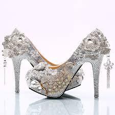 2017 <b>Gorgeous Silver Rhinestone Wedding</b> Shoes Rose Flower ...
