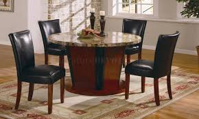 Genuine Leather Dining Room Chairs Round Genuine Marble Dining Room Furniture W Leather Seats
