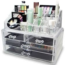 plastic makeup organizer put bathroom: amazoncom ikee design acrylic jewelry amp cosmetic storage display boxes two pieces set home amp kitchen