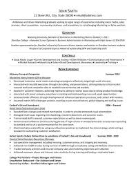Core Skills And Work Experience In Marketing Internship Resume Samples With Retail Sales
