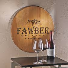 wood sign glass decor wooden kitchen wall: authentic barrel head wall plaque with personalized wine theme