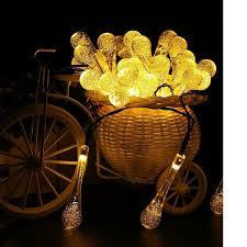 Yellow Garden Solar Outdoor <b>String</b> Lights 20ft <b>30LED</b> Water Drop ...