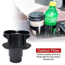 Black Carbon Fiber <b>Center Console Drink</b> Cup Holder For Car ...