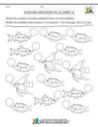 First Grade Math ActivitiesFun Addition to 12 Fish Sheet 2 ...