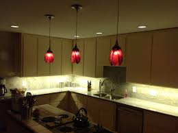 chic red flower pendant lighting kitchen design inspiration with l shape simple kitchen cabinet and white chic hanging lighting ideas lamp