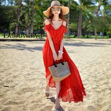 <b>Dabuwawa</b> Summer <b>Red</b> Sexy Off Shoulder Beach <b>Maxi</b> Dress for ...
