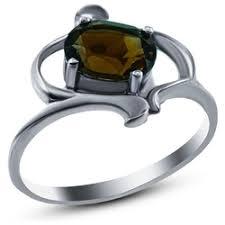 «<b>Кольцо</b> из серебра 925 пробы с кварцем и раухтопазами (17,25 ...