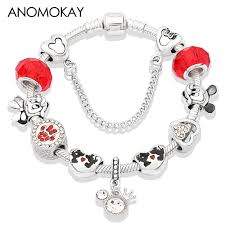 Simple Series <b>Minnie Pendant</b> Charm Pan Bracelet <b>Red</b> Crystal ...