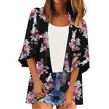 Buy TITAP <b>S</b>-<b>2XL Women</b> Mesh Panel 3/4 Bell Sleeve <b>Floral</b> Chiffon ...