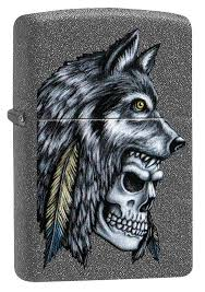 <b>Зажигалка ZIPPO</b> 29863 <b>Wolf</b> Skull Feather Design