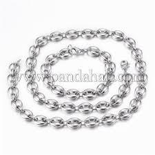 Wholesale <b>304 Stainless Steel</b> Jewelry Sets, <b>Coffee</b> Bean Chain ...