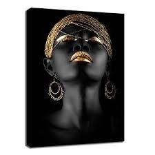 Fchen Art African Gold and Black Women Portrait Wall ... - Amazon.com