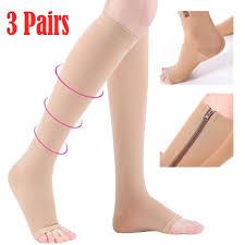 Pair of Stocking <b>Zipper Compression Sock</b> Zip Leg Foot Support ...