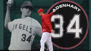 Jared Weaver honors and remembers Nick Adenhart by naming his first child after him.