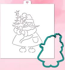Cookie Cutter with Stencil set <b>SANTA CLAUS</b> WITH <b>CHRISTMAS</b> ...