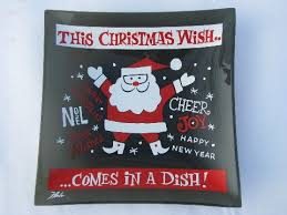 <b>Christmas</b> Wish, vintage Houze <b>glass</b> dish w/ holiday <b>Santa print</b> ...