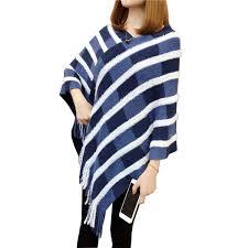 <b>Vintage</b> White Striped Tassel Poncho Sweater 2019 <b>New Autumn V</b> ...