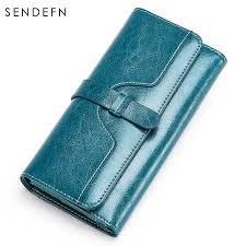 SENDEFN RFID BLOCKING <b>Hot</b> Women's <b>Clutch</b> Leather Wallet ...