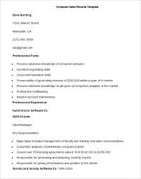 Sales Resume Template         Free Samples  Examples  Format     Sample Computer Sales Resume Template