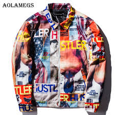 <b>Aolamegs Jackets Men Patchwork</b> Picture Thin Jacket Tracksuit ...
