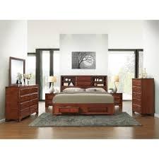 emily bedroom set light oak: asger antique oak finish wood king size  piece bedroom set