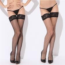 <b>Sexy</b> Mesh <b>Stockings Women</b> Lace Top Sheer Stay Up Thigh High ...