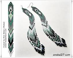 этнические <b>серьги</b> из бисера схема плетения | Образцы ...