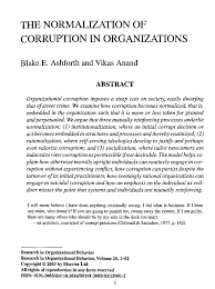 the nor zation of corruption in organizations pdf the nor zation of corruption in organizations pdf available