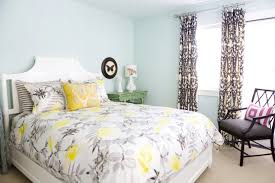 yellow and gray bedroom: gray and yellow bedding view full size