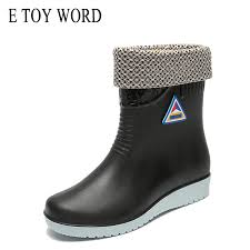 <b>E TOY WORD</b> Women Rubber Boots water boots Middle Tube rain ...
