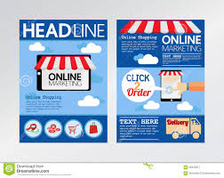 set of e commerce magazine cover flyer brochure flat design t e commerce online marketing magazine cover flyer royalty stock photography