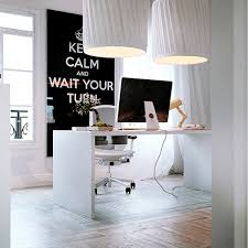 white home office design with big white pendant lamp also white work table chair also vinyl big beautiful modern office photo