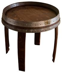 banded wine barrel side table 22 tall farmhouse side tables and alpine wine design outdoor finish wine barrel