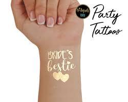 <b>Team Bride</b> Gold Metallic Flash Bachelorette Tattoos Set of 10 ...