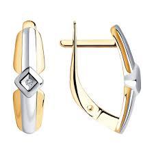 <b>Серьги</b> из <b>золочёного</b> серебра <b>SOKOLOV</b> с бриллиантом ...
