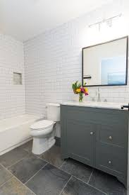 vanity top diy pinthedream white subway tile with gray grout slate quartzite floors modern gray v