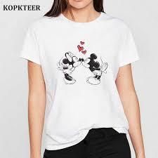 Tee Shirt Femme Harajuku T Shirt Mickey Minnie Love Graphic Tees ...