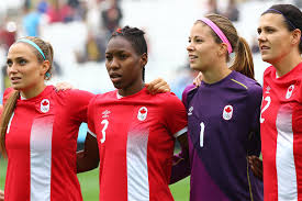 photo essay defeats 2 0 live from rio l r shelina zadorsky kadeisha buchanan stephanie labbé and captain christine sinclair in full voice during the national anthem photo by ann odong