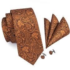 Hi-<b>Tie</b> Mens <b>Paisley Floral Tie Necktie</b> with Cufflinks and Pocket ...