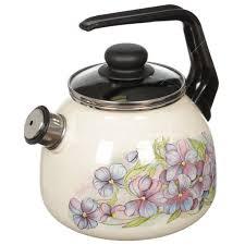 <b>Чайник эмалированный</b> СтальЭмаль Фиалка 4с209я со <b>свистком</b> ...